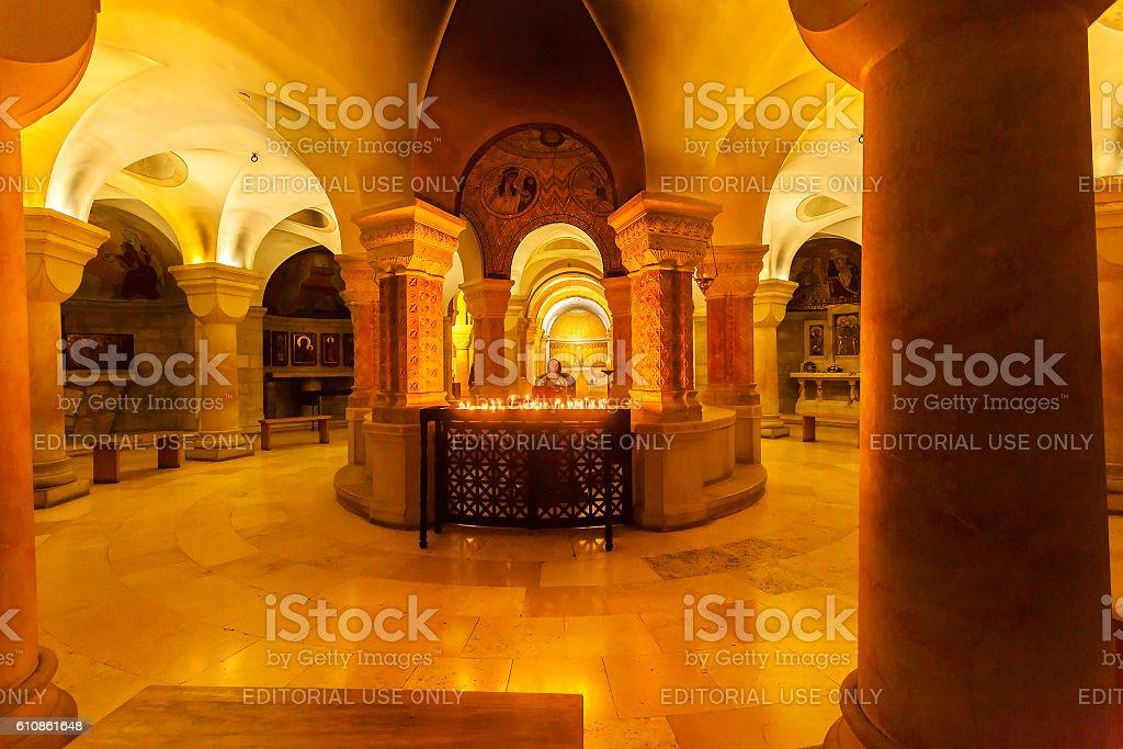 Dormition Abbey church interior. Old town. Jerusalem. Israel stock photo