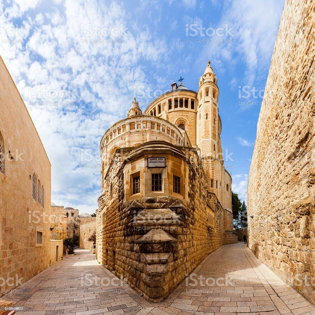Dormition Abbey church. Old town. Jerusalem. Israel stock photo