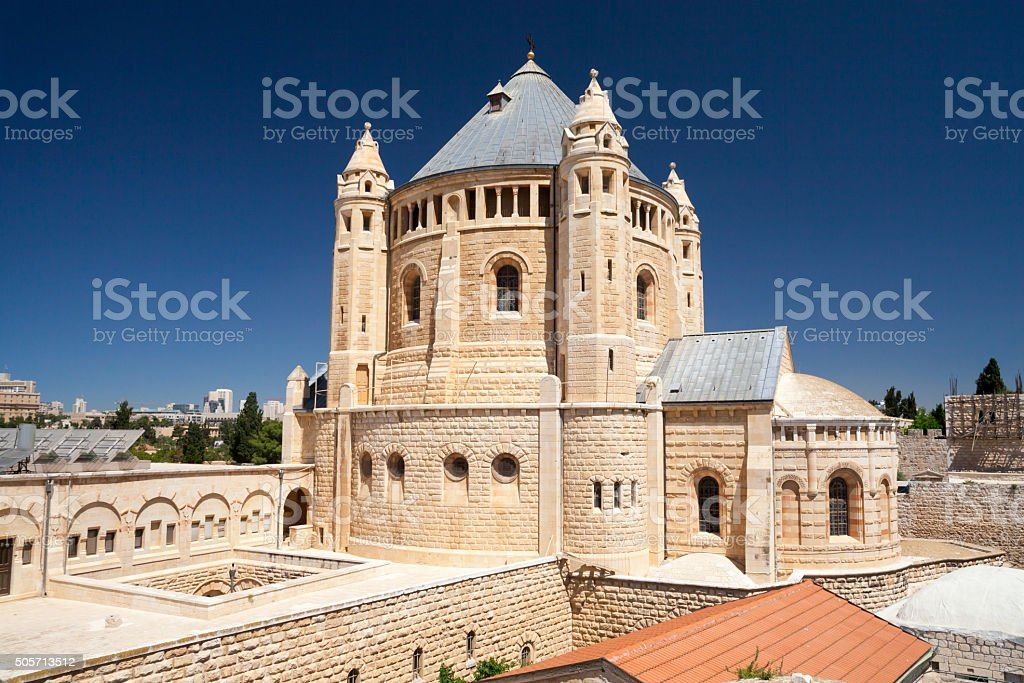 Dormition Abbey in Jerusalem. stock photo