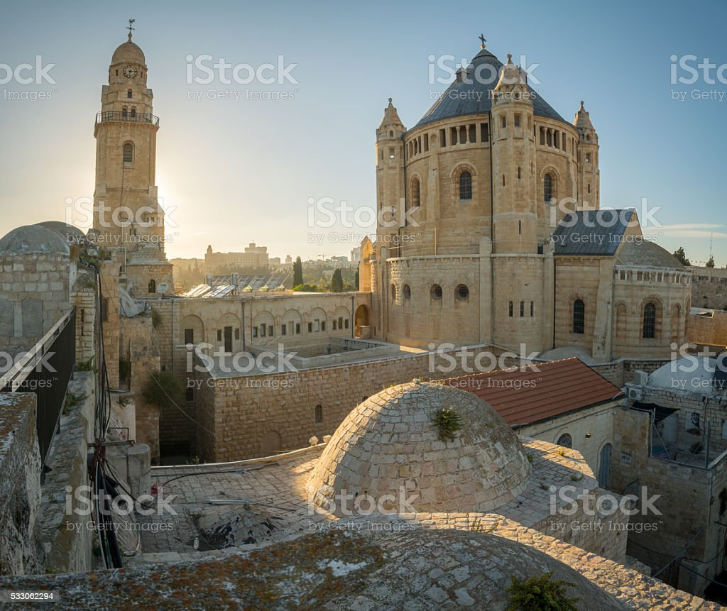 Dormition abbey, in Jerusalem stock photo
