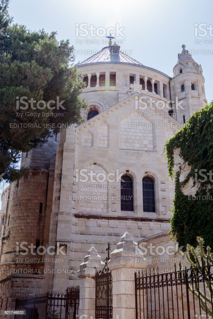 Dormition abbey in the Old City of Jerusalem, Israel stock photo