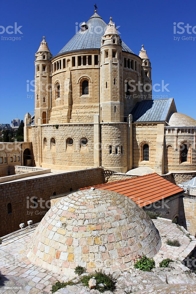 Dormition abbey on Mount Zion stock photo