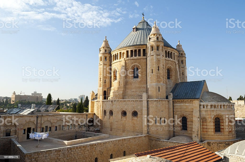 Dormition Abbey in Jerusalem stock photo