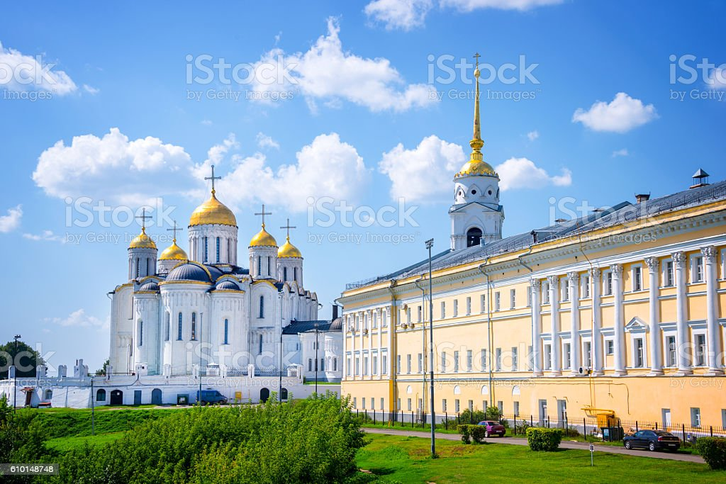 Dormition cathedral and Bell tower, in Vladimir, Golden Ring, Russia stock photo