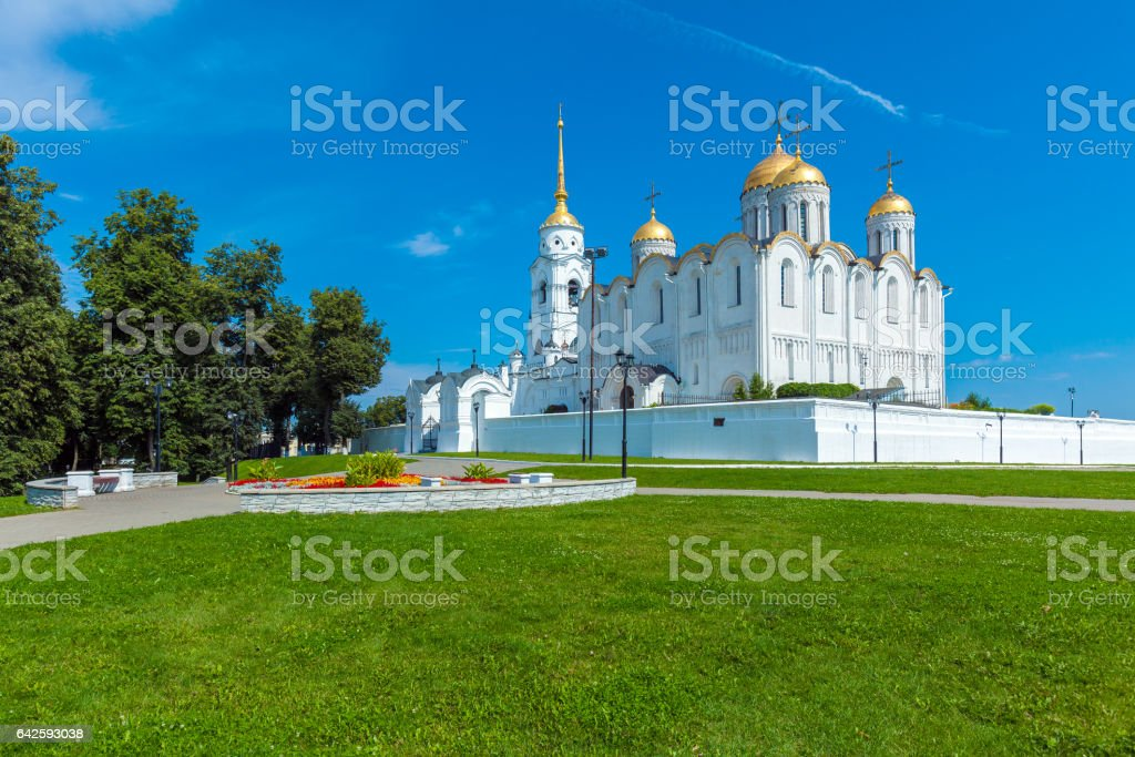 Dormition Cathedral (1160) in Vladimir, Russia stock photo