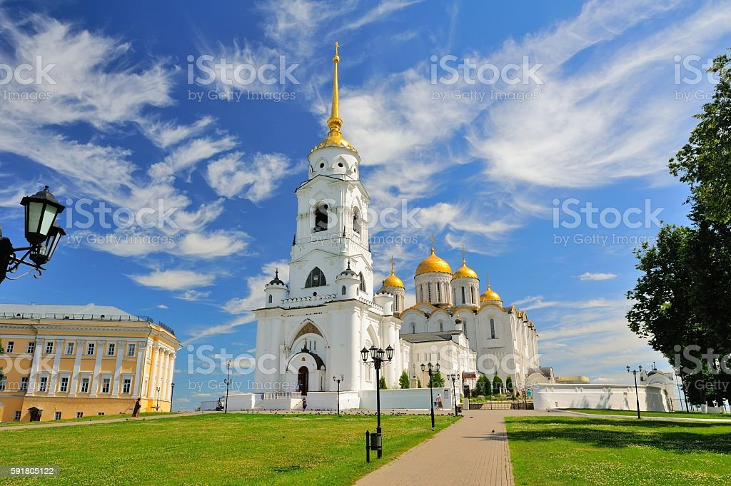 Dormition Cathedral (Assumption Cathedral) in Vladimir, Russia. UNESCO World Heritage Site stock photo