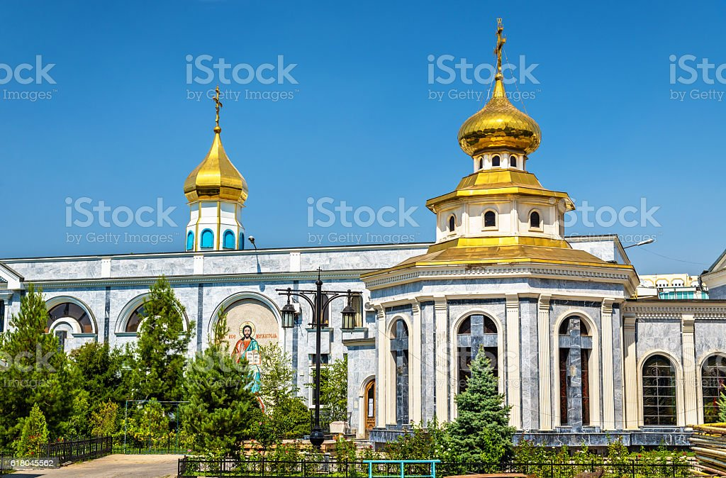 Dormition Cathedral of Russian Orthodox Church in Tashkent - Uzbekistan stock photo