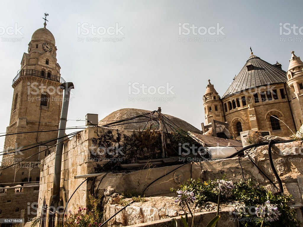 Dormition church and abbey on mount Zion in Jerusalem stock photo