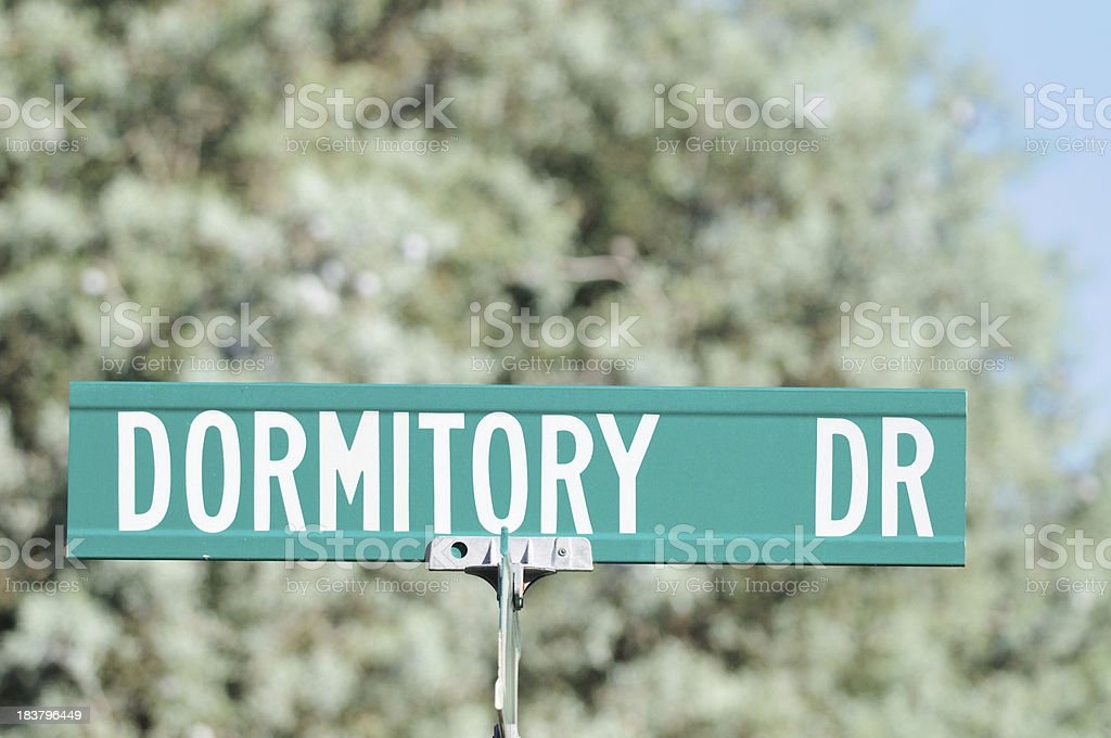 Dormitory drive road sign royalty-free stock photo
