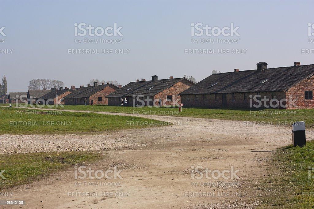 Dormitory inside Birkenau-Auschwitz concentration camp royalty-free stock photo