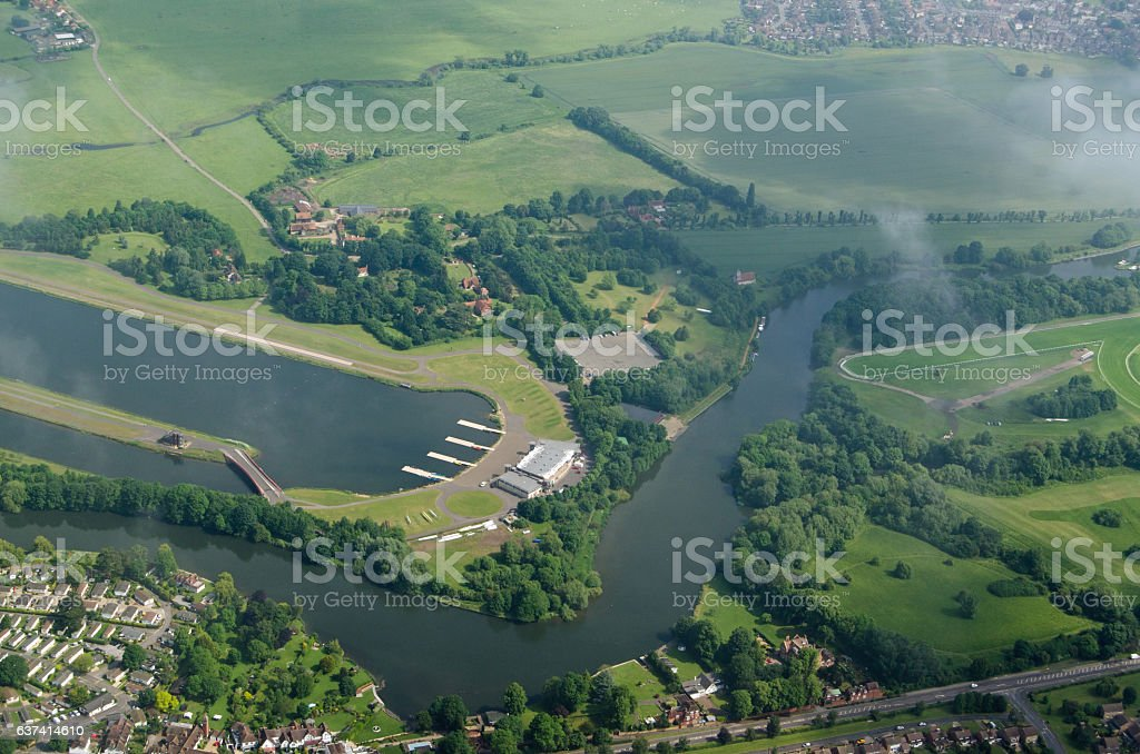 Dorney Lake and River Thames at Eton, Berkshire stock photo