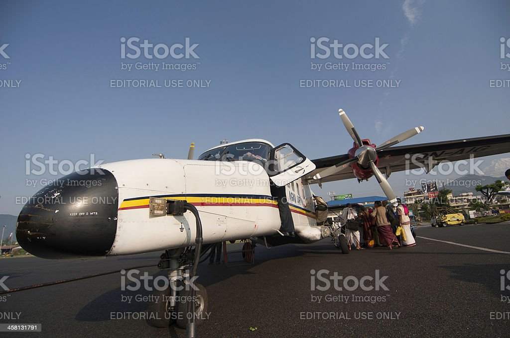 Dornier DO-228 9N-AIG at Pokhara airport royalty-free stock photo