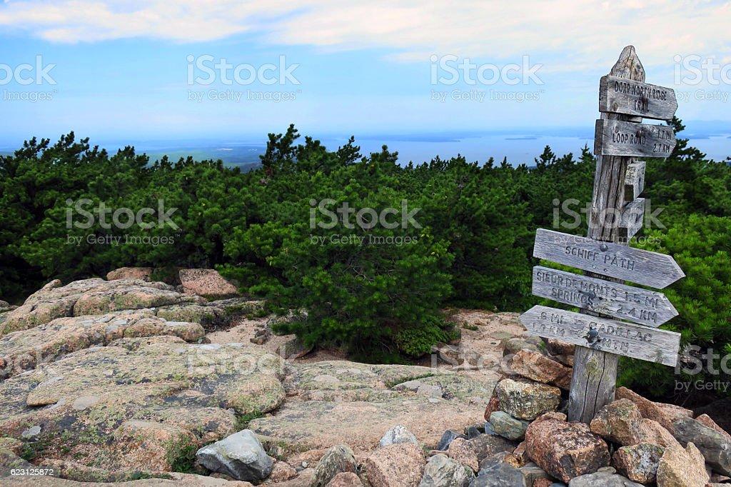 Dorr Mountain Trail Sign stock photo