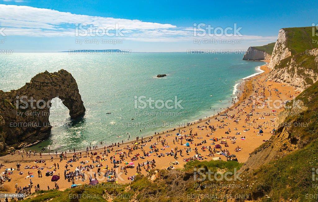 Dorset Coastline on a hot summer day stock photo