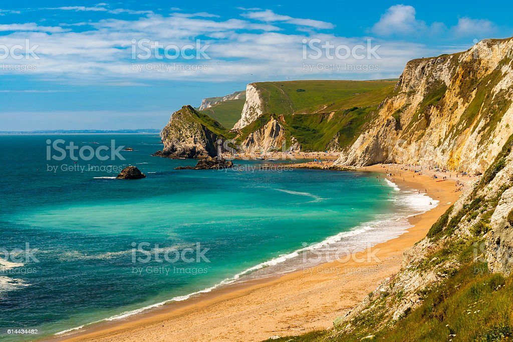 Dorset Coastline on a hot summer day stock photo