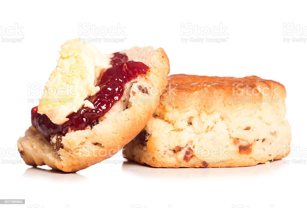 Dorset scone with clotted cream on top stock photo