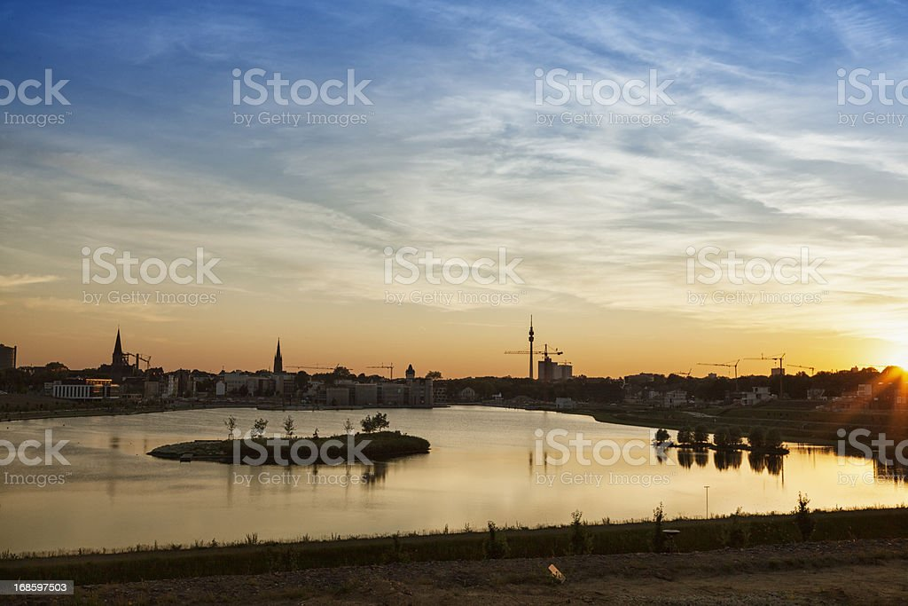 Dortmund cityscape and lake Phoenix stock photo
