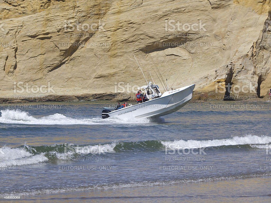 Dory Days Boat Returning Surf Cape Kiwanda Pacific City Oregon royalty-free stock photo