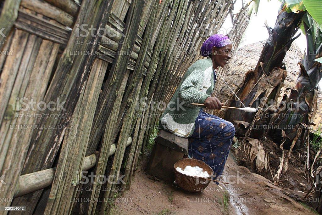 Dorze ethiopian woman weaving fabric stock photo