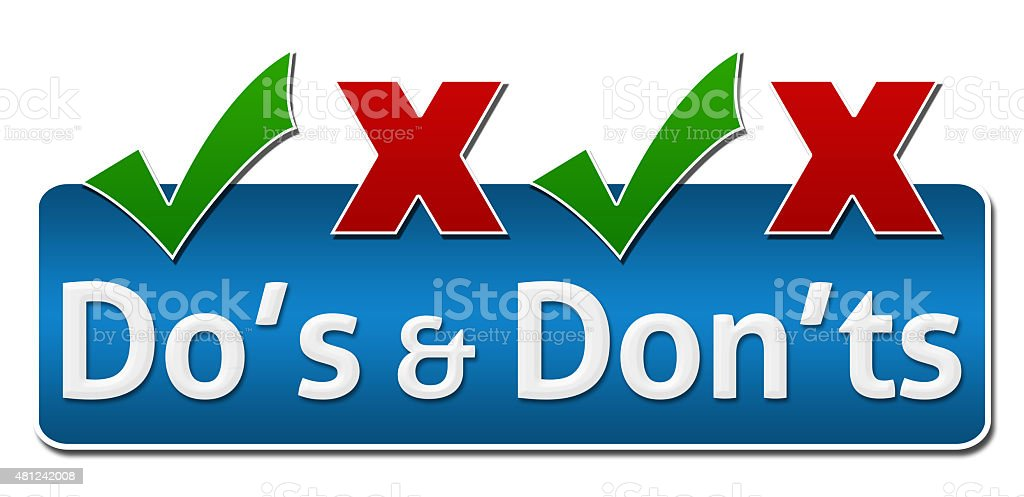 Dos And Donts Symbol On Top stock photo
