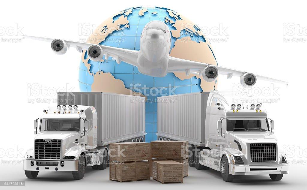Dos camiones americanos para transporte de mercancías urgentes stock photo