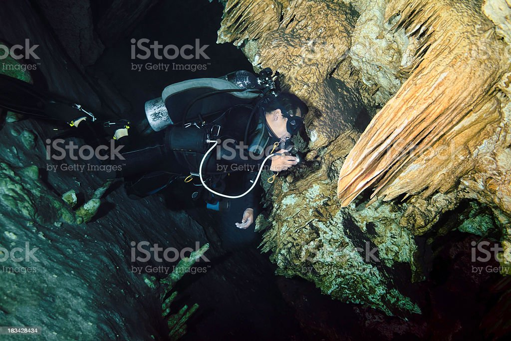 Dos Ohos underwater cave Mexico royalty-free stock photo