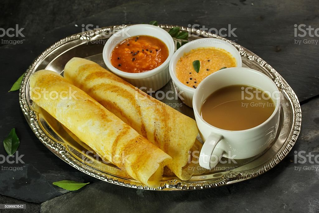 Dosa with chutney south Indian Breakfast stock photo