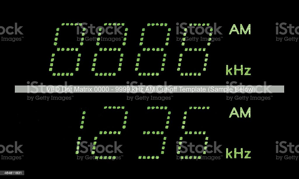 VFD Dot Matrix AM Radio Tuner Display Macro Black Green stock photo
