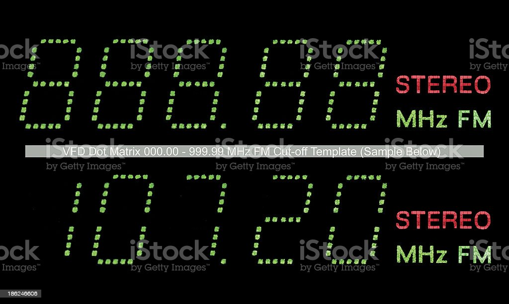 VFD Dot Matrix FM Radio Display Macro Green, Large Closeup stock photo