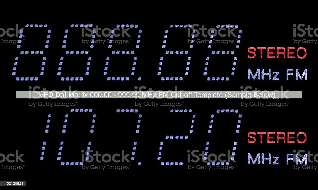 VFD Dot Matrix FM Stereo Radio Display Macro In Blue stock photo