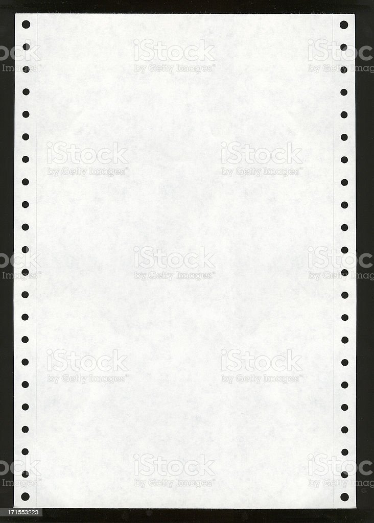 Dot Matrix Printer Paper stock photo