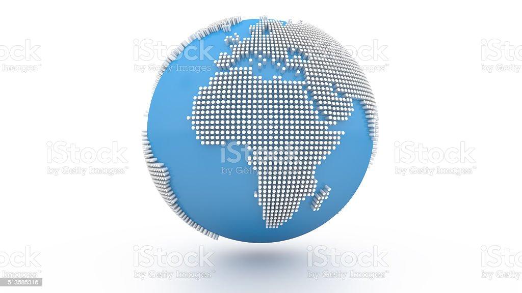 3D Dots Blue World Globe Europe stock photo