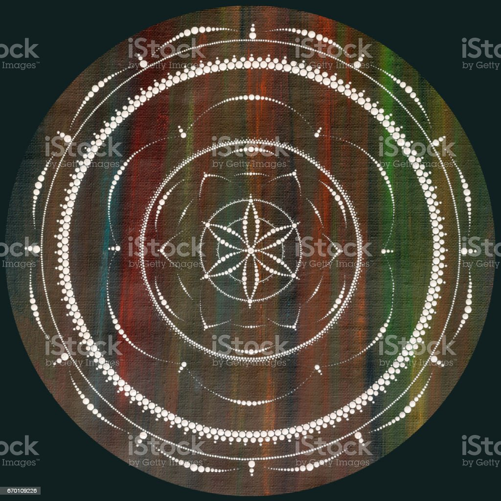 dots mandala on canvas stock photo
