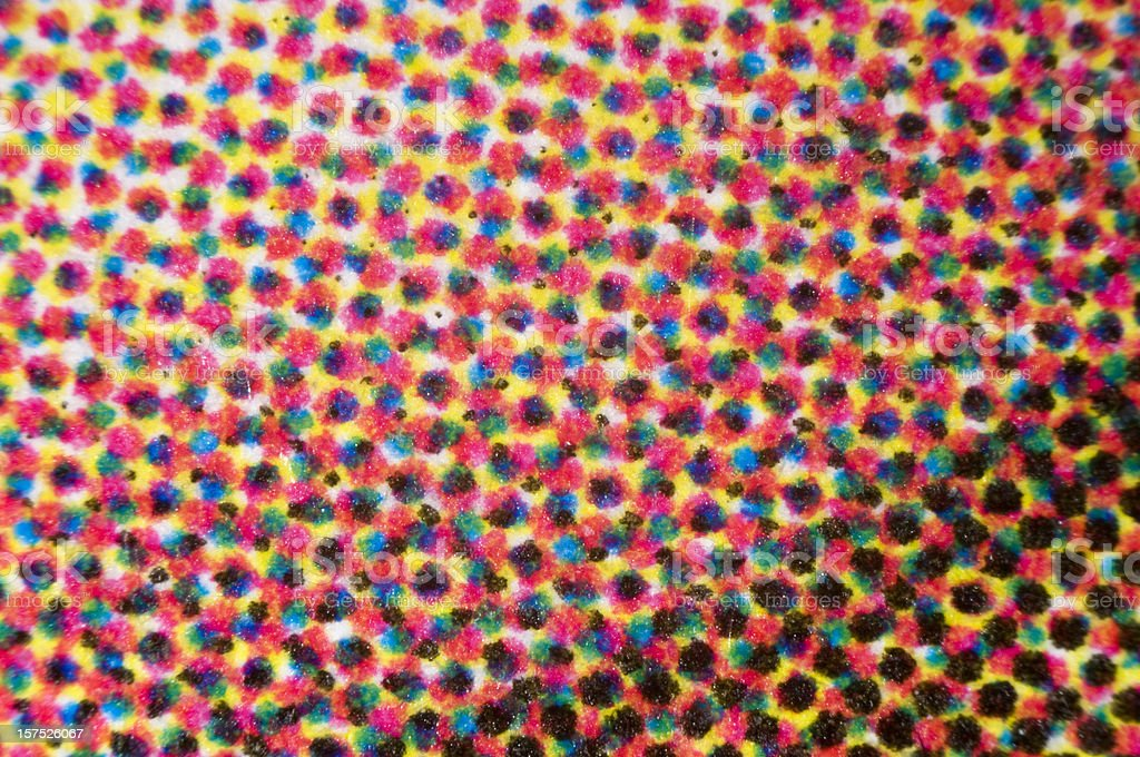 CMYK dots of four-color printing micrograph stock photo