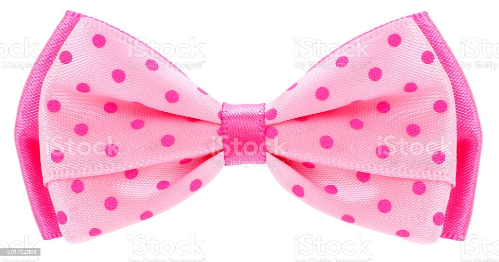 Dotted bow tie pink with spots stock photo