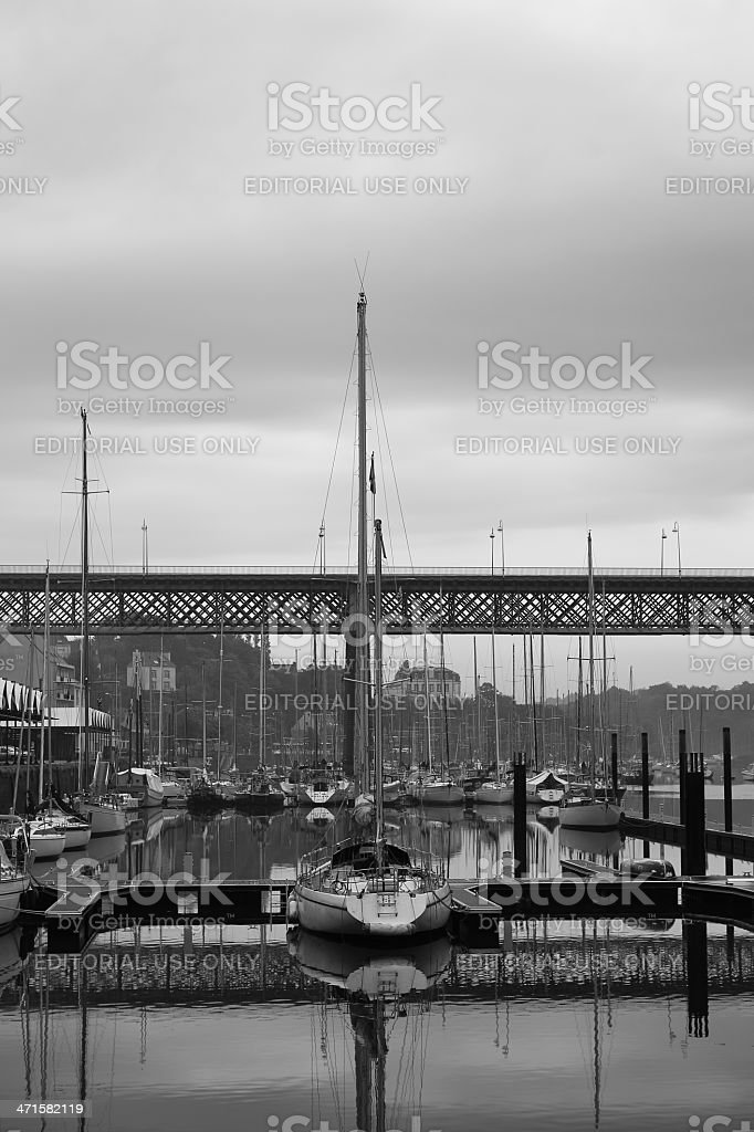 Douarnenez harbor and Grand Pont royalty-free stock photo