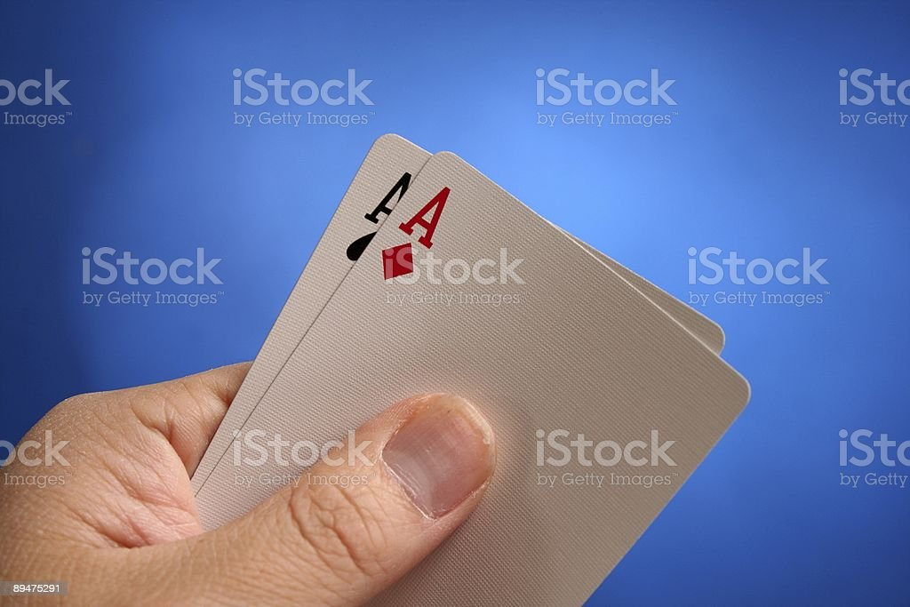 Double Aces on Blue Background royalty-free stock photo