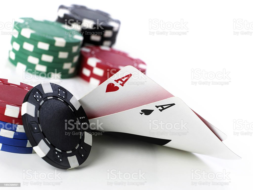 Double Aces With Chips royalty-free stock photo