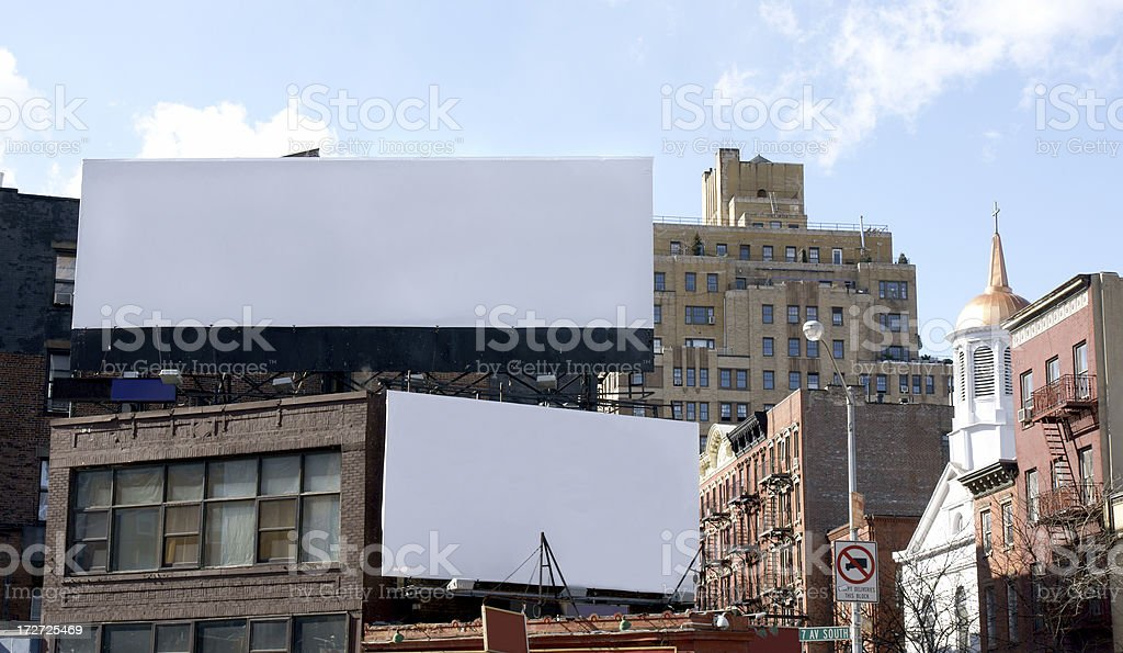 Double Advertising Billboard  Space in  Manhattan New York royalty-free stock photo