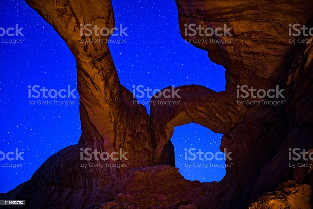 Double Arch Milky Way Galaxy Arches National Park Utah stock photo
