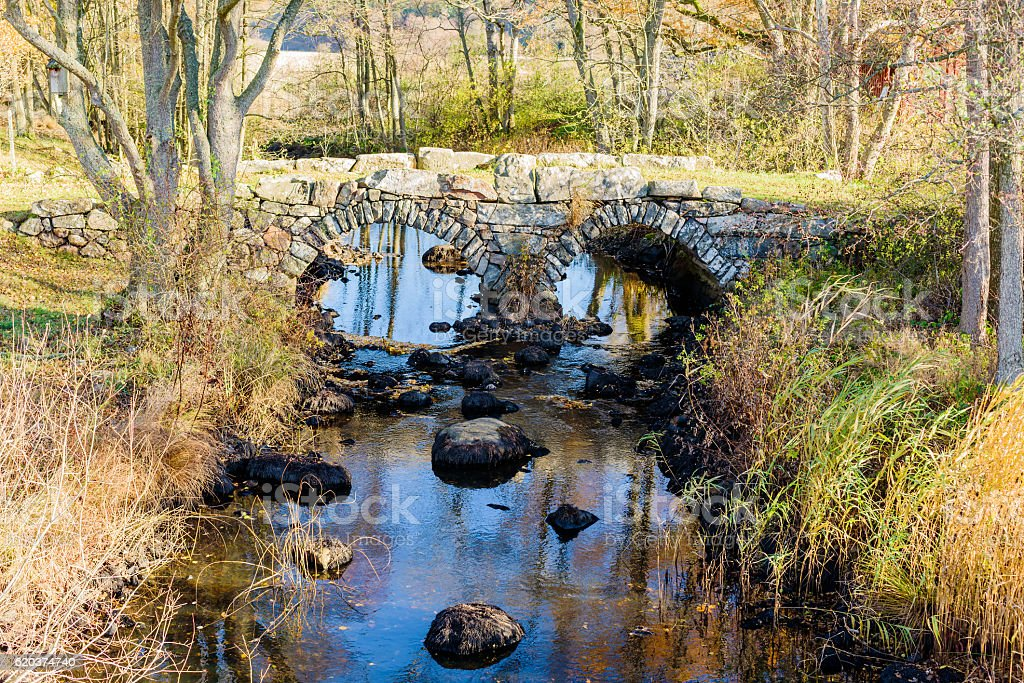 Double arch stone bridge stock photo
