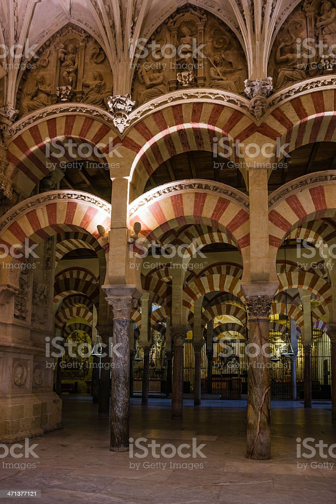 Double Arches Colonnade of La Mezquita Cathedral (Córdoba Mosque) royalty-free stock photo