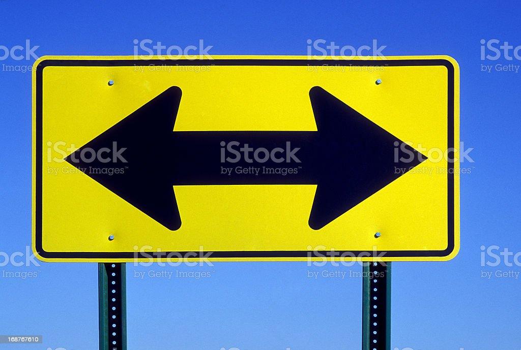 Double Arrow Road Sign stock photo