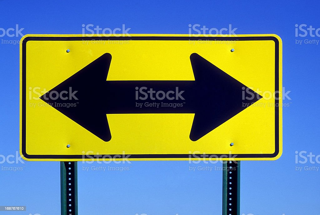 Double Arrow Road Sign stock photo