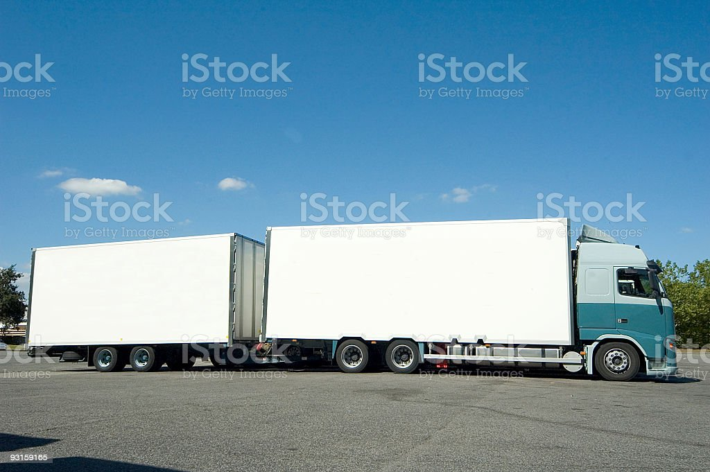 double articulated truck stock photo