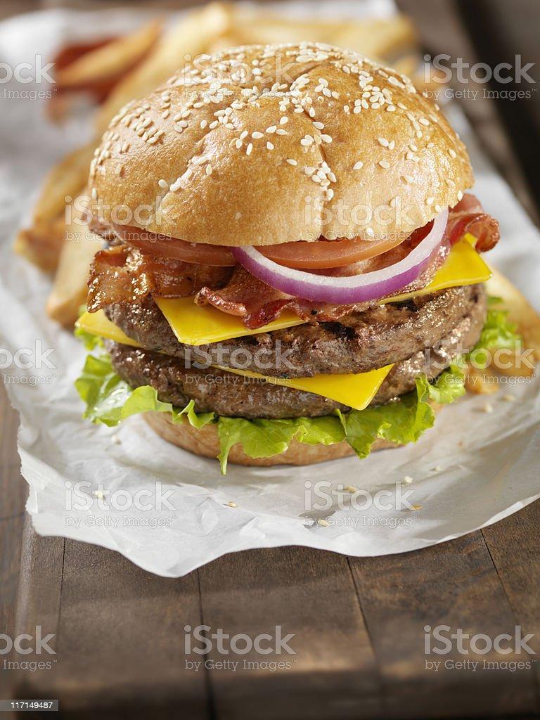 Double Bacon Cheeseburger stock photo