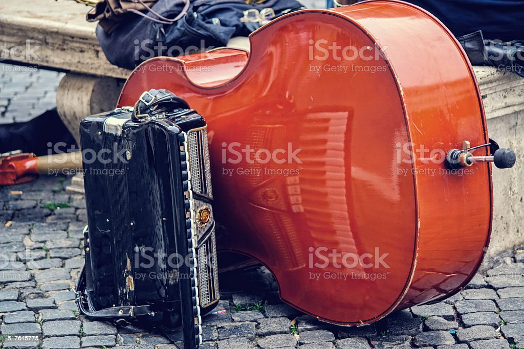 Double bass and accordion in rome piazza navona stock photo