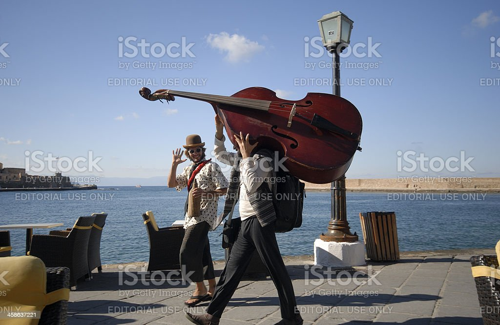 Double bass passing stock photo