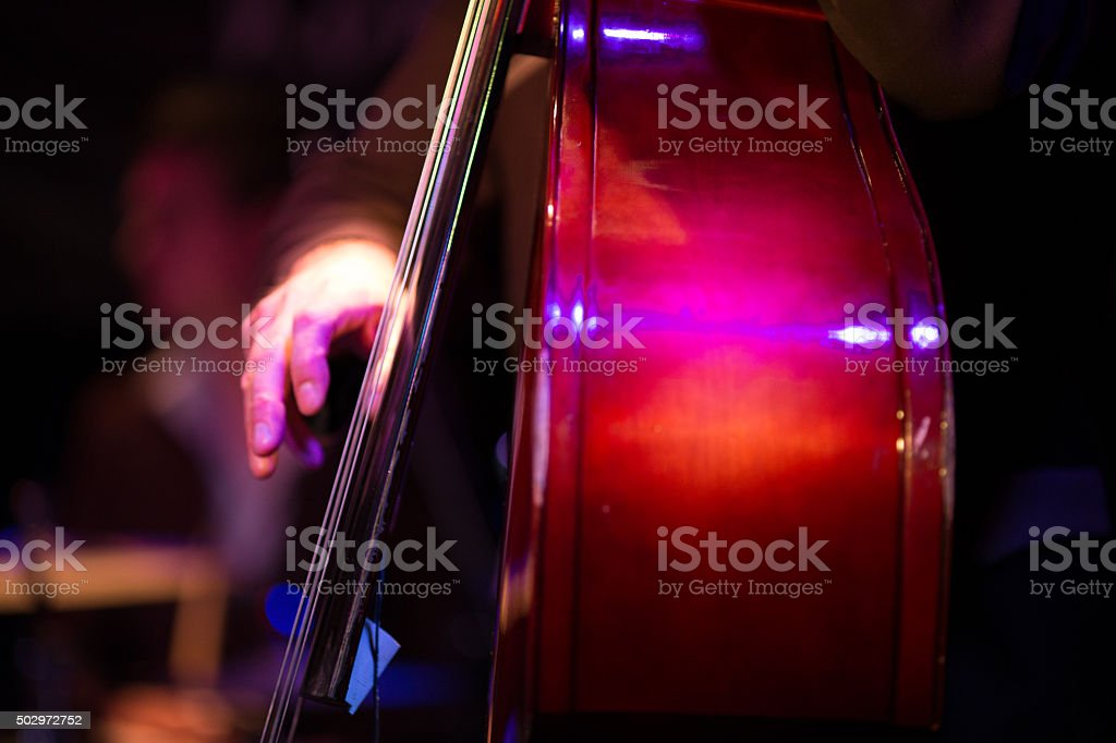 double bass player stock photo