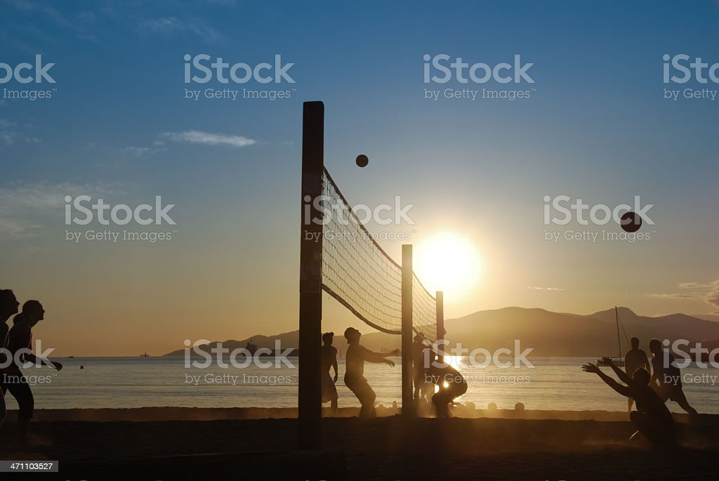 Double Beach volleyball royalty-free stock photo